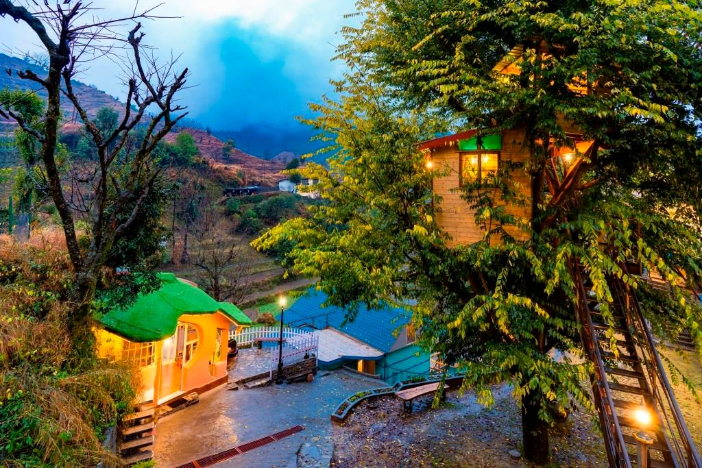 The campus of Zostel Mussoorie, a backpacker hostel in Mussoorie Uttarakhand