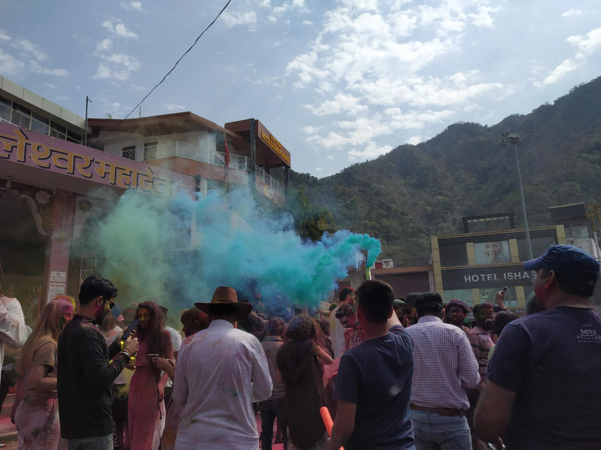The celebrations in Rishikesh kick in for the festival of colours.