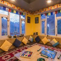 Cosy common room at our hostel in Chitkul