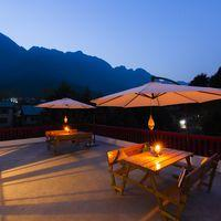 Outdoor seating area of our backpacker hostel in Srinagar