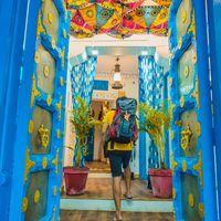 Backpacker entering Zostel Jodhpur