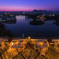 Evening view from Hostel Udaipur's Rooftop Cafe