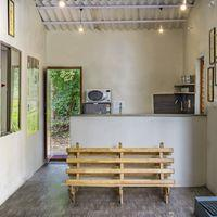 The rustic kitchen space