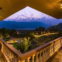 The view of the Phewa Lake at dusk from the lobby.