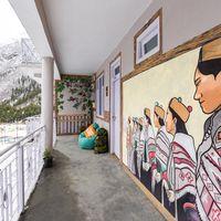 Local Kinnauri wall art on our hostel walls