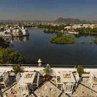 Morning view from rooftop cafe in Udaipur Hostel