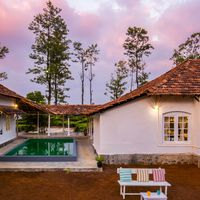Beautiful Pool area of our Wayanad backpacker hostel