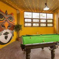 Pool table in the indoor hang out area.