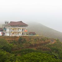 Misty outdoor view of Zostel Vagamon