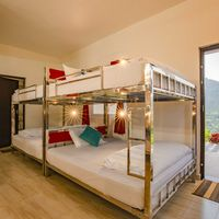 Big beds in 8 bed dorm of our backpacker hostel in Vagamon