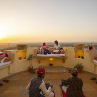 Mesmerising sunset view from Zostel Jaisalmer rooftop lounge